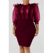 Lovely Sexy See-through Wine Red Knee Length A Line Dress