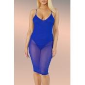 Schönes Sexy Durchsichtiges Blaues Knielanges Kleid