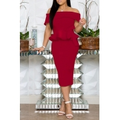 Lovely Stylish Off The Shoulder Ruffle Design Red