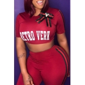 Lovely Leisure O Neck Letter Printed Red Two-piece