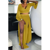 Lovely Leisure V Neck High Split Yellow Two-piece