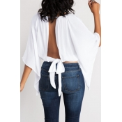Lovely Casual O Neck Hollow-out Lace-up White Blou