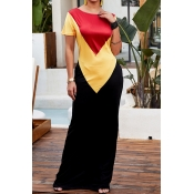 Lovely Casual Patchwork Yellow Floor Length Dress(With Elastic)