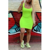 Lovely Casual U Neck Green Mini Dress