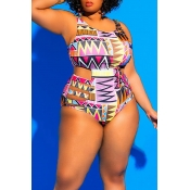 Lovely Geometric Printed Hollow-out Light Purple One-piece Swimwear