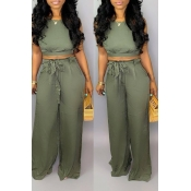 Lovely Sexy Lace-up Backless Army Green Two-piece