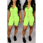 Lovely Casual Zipper Design Green One-piece Romper