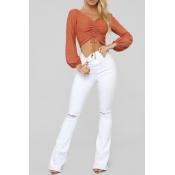 Lovely Casual High Waist Broken Holes White Jeans