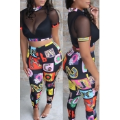 Lovely Sexy Patchwork Black Two-piece Pants Set(Wi