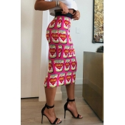 Lovely Trendy Printed Pink Straight Mid Calf Skirt