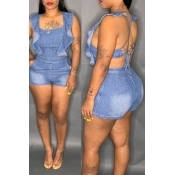 Lovely Sexy Ruffle Design Backless Blue Denim One-
