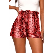 Lovely Bohemian Animal Printed Red Shorts