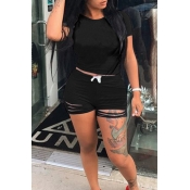 Lovely Casual O Neck Hollow-out Black Two-piece Shorts Set