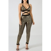 Lovely Sexy Hollow-out Gold Two-piece Pants Set