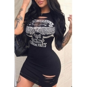 Lovely Casual O Neck Printed Hollow-out Black Mini