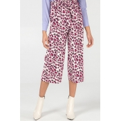 Lovely Stylish High Waist Leopard Printed Red Pant