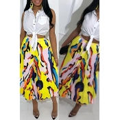 Lovely Casual Printed Yellow Ankle Length A Line S