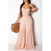 Lovely Sweet Off The Shoulder Light Pink One-piece