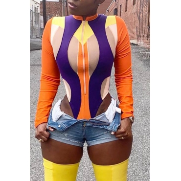 Lovely Casual Patchwork Multicolor Bodysuit