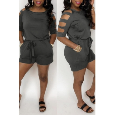 Lovely Casual Hollow-out Deep Grey Loose One-piece Romper