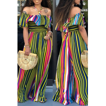 Lovely Stylish Off The Shoulder Striped Ruffle Design Green One-piece Jumpsuit