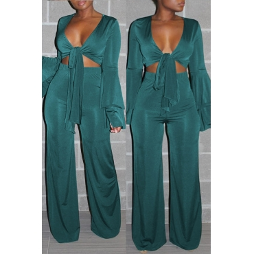 Lovely Casual  V Neck Lace-up Green Two-piece Pants Set