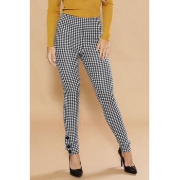 Lovely Stylish Plaid Black-white Pants