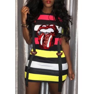 Lovely Leisure Short Sleeve Striped Printed Mini Dress