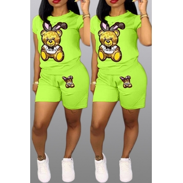 Lovely Casual Printed Green Two-piece Shorts Set