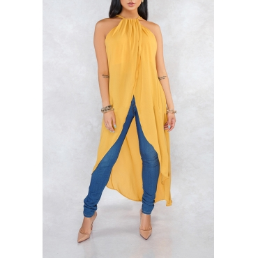 Lovely Stylish Halter Neck Asymmetrical Yellow Blouse