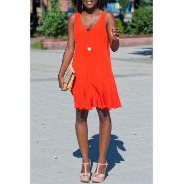 Lovely Casual V Neck Red Knee Length Dress