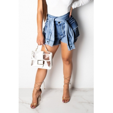 Lovely Casual Dark Blue Denim Shorts