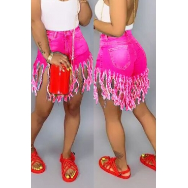 Lovely Casual Tassel Design Rose Red Jeans