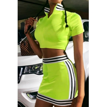 Lovely Casual Striped Patchwork Green Two-piece Skirt Set