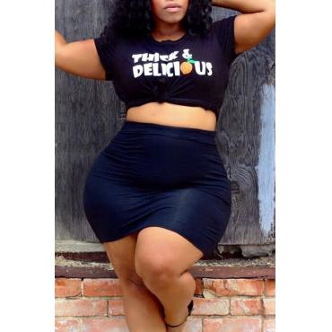 Lovely Leisure O Neck Letter Printed Black T-shirt