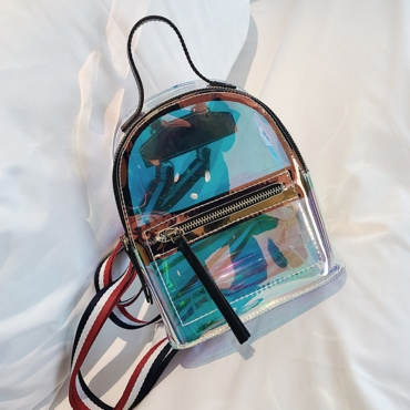 Lovely Fashion See-though Black PVC Backpacks