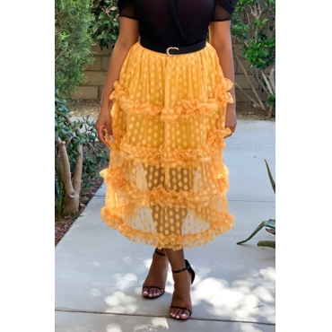 Lovely Chic Dot Printed Patchwork Yellow Mid Calf Skirts