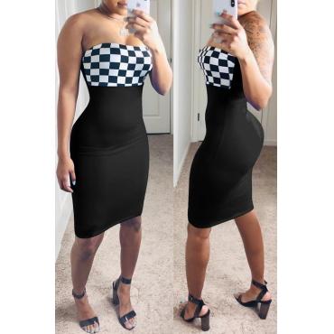 Lovely Trendy Off The Shoulder Plaid Patchwork Black Knee Length Dress
