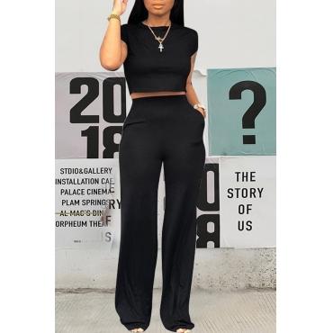 Lovely Stylish O Neck Black Two-piece Pants Set