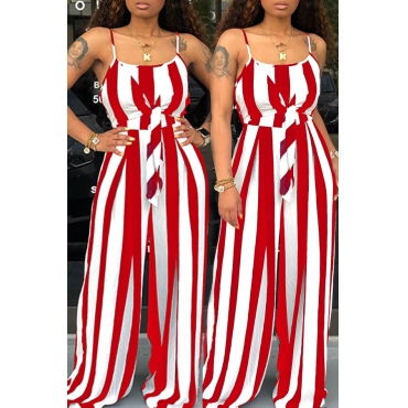 Lovely Stylish Spaghetti Strap Striped Red One-piece Jumpsuit