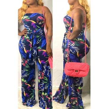 Lovely Stylish Off The Shoulder Printed Navy One-piece Jumpsuit