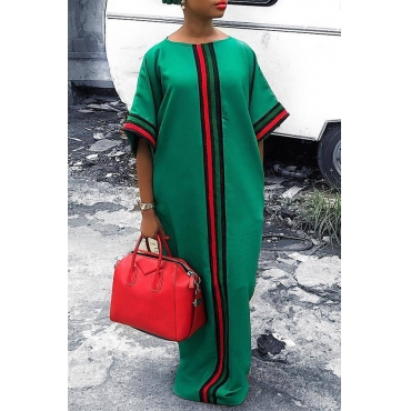 Lovely Casual O Neck Striped Patchwork Green Floor Length Dress