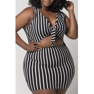 Lovely Work V Neck Striped Black Two-piece Skirt Set