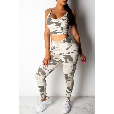 Lovely Casual Camouflage Printed Grey Two-piece Pants Set