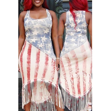 Lovely Independence Day Printed Tassel Design Mid Calf Dress
