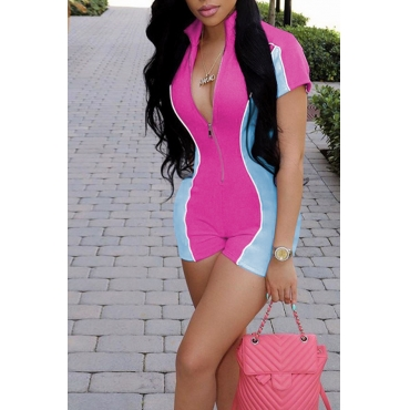 Lovely Stylish Patchwork Zipper Design Rose Red One-piece Romper