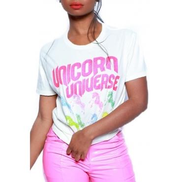 Lovely Chic Letter Printed White T-shirt