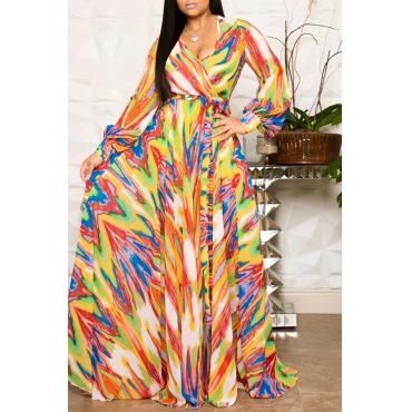 Lovely Casual V Neck Printed Multicolor Floor Length Dress