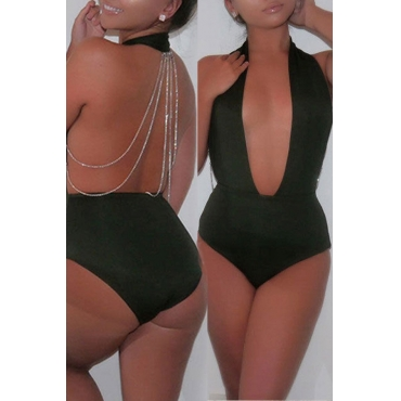 Lovely Deep V Neck Hollow-out Army Green One-piece Swimwear