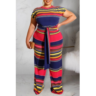 Lovely Stylish O Neck Striped Printed Two-piece Pants Set